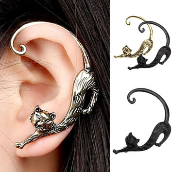 New Fashion Gothic Punk Temptation Cat Bite Ear Cuff Wrap Clip Earring big earrings Fashion Earrings Free Shipping
