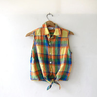 20% OFF SALE vintage plaid linen shirt. cropped tank top. Plaid tie up front shirt. Button front sleeveless shirt.