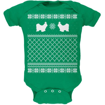 Shih Tzu Ugly Christmas Sweater Kelly Green Soft Baby One Piece