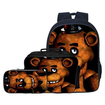 Fashion 3pcs/set Printing Cartoon Five Night At Freddy Children School Bags Teen Backpacks Kids Baby Boys Schoolbag Girls Bag