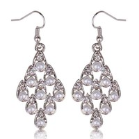 """Bridal Dangle Silver """"Its Raining Pearls"""" Fashion with Crystals"""