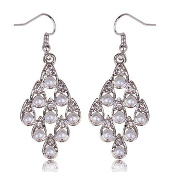 "Bridal Dangle Silver ""Its Raining Pearls"" Fashion with Crystals"