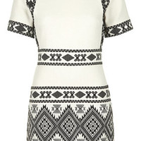 Aztec Jacquard Shift Dress - Cream