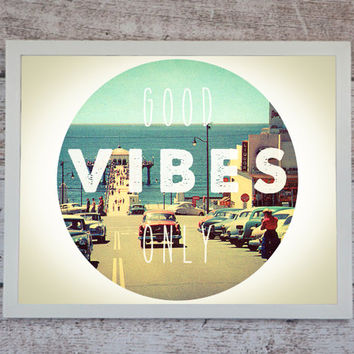 Good Vibes Only Poster Print // Boho Decor - Bohemian Print // Bohemian Wall Art- Minimalist Art Print - California Wall Art