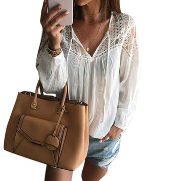 Feitong Women Chiffon Blouse 2016 Fashion Boho Lady Sexy Loose Lace Tops shirt Casual Summer Shirt Women clothes blusa feminino