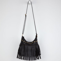 Fringe Pyramid Stud Handbag Black One Size For Women 20788010001