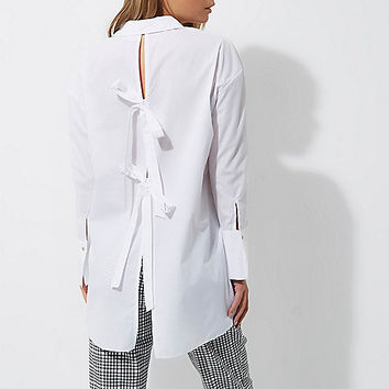 White bow back oversized shirt - shirts - tops - women