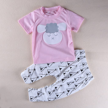 2017 summer new cute baby girl clothes set Baby Clothing Sets Cartoon Printing Sweatshirts+Casual Pants 2Pcs R4091