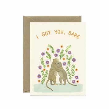 "Meerkat Hugs Sympathy Card - ""I Got You Babe"""