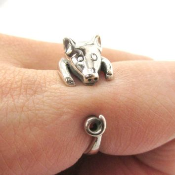 Realistic Piglet Shaped Animal Wrap Around Ring in 925 Sterling Silver | US Sizes 3 to 8