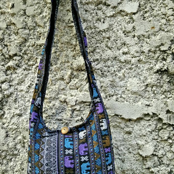Bohochic Elephants Crossbody bag, Shoulder bag,hobo bag,Tote bag,Festival fashion Gypsy Hippy Hippies Yam Diaper Tribal Unique gift in black