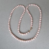 """Quality 18"""" Long Pale Pink Freshwater Pearl Vintage Necklace, 14k Gold Clasp"""