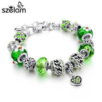 925 Silver and Green Crystal Heart Charm Bracelet (Ships in 3-4 weeks)