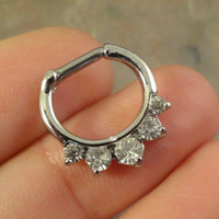 14 or 16 Gauge Crystal Septum Ring Clicker Bull Ring Nose Daith Piercing