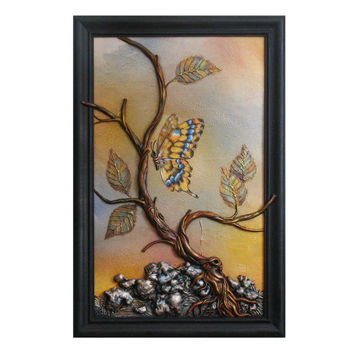 Hand Painted Wall Art Decor Picture Wooden Frame Leather Wall Hanging, Hand-Painted Beautiful Painting Tree With Leaves Butterfly Still Life