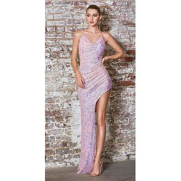 Fitted High-Low Sequin Gown Opal Lilac Spaghetti Strap Cowl Neckline