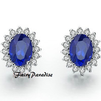 Total 4 Ct Oval Cut Synthetic Sapphire lab made Diamond Wedding Cocktail earrings 925 Silver with gift box- made to order