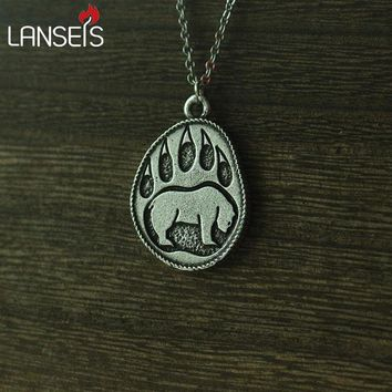 lanseis 1pcs viking bear paw pendant men necklace Nordic Talisman jewelry cute bear charm