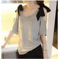 Sweet Cutoff Shoulder Big Ribbon Bow Short Sleeves Tee Top 2 Colors