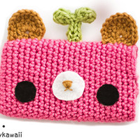 cute crochet pink leafy bear gadget iphone ipod cozy case