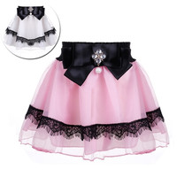 Baby Kids Children Girl's Wear Elastic Waist Bow Bead Decoration Short Pleated A-line Cute Sweet Skirt A_L = 1658501380