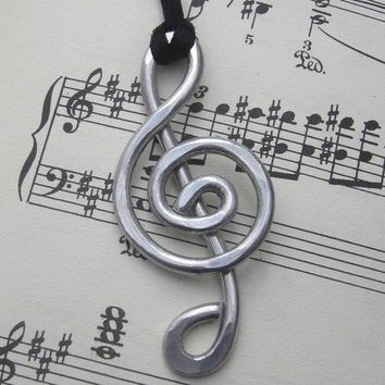Big Treble Clef Pendant Necklace - G Clef, Music Jewelry, Music Note, Musician Gift, Treble Clef Jewelry, Aluminum Wire