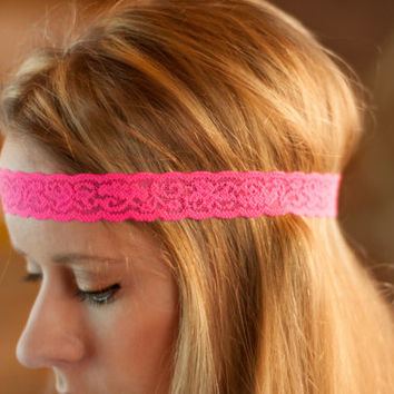 Hot Pink Headband, Boho Lace Band, Stretchy Thin Skinny Head Piece, Women Stretch Forehead Hair Accessories, Bright Fashion Accessory
