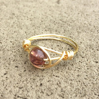 Purple ring, crackled glass, gold wire wrap jewelry, custom size