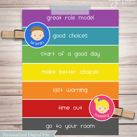 Positive behavior chart, kids chart, personalized and printable behavior chart for kids