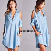 New denim open cold shoulder shirt tunic dress oversized long sleeves S, M Or L