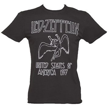 Men's Charcoal Led Zeppelin USA 1977 T-Shirt from Amplified