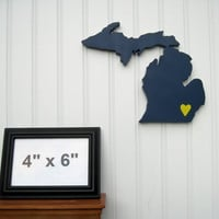 "Michigan Wolverines ""State Heart"" wall art, handcrafted wood featuring official team colors"