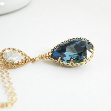 Denim Blue Swarovski Pendant Necklace Cubic Zirconia Drop Necklace Gold and Blue Wedding Blue Teardrop Crystal Necklace Bridal Jewelry