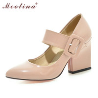 Meotina High Heels Shoes Women Mary Jane Shoes Thick High Heel Pumps Spring Fall Footwear Pink White Apricot Big Size 9 10 40 43