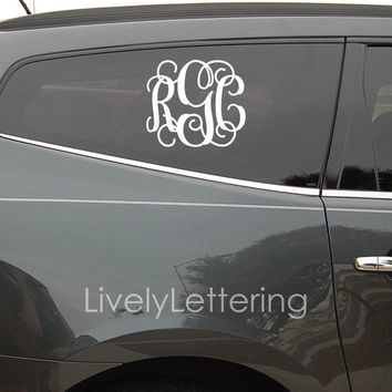10x12 monogram car decal 3 initial design vinyl monogram lette