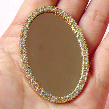 Mirror Cabochon with Clear Rhinestones in Luxcury Style (Oval / 55mm x 37mm) Kawaii Big Cabochon DIY Cell phone Deco CAB224