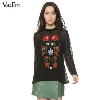 Women vintage floral embroidery transpanrent two pieces chiffon shirts black long sleeve loose blouse casual tops blusas LT1435
