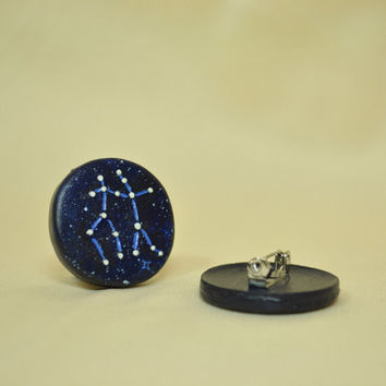 Gemini Pinback Button GLOW in the DARK, Astrology, Zodiac, Constellations, The Twins, Mythology, Horoscope, May 21st - June 21st, The Stars