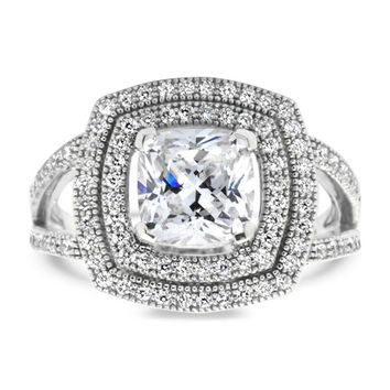 Split Shank Cushion Cut Double Diamond Halo Moissanite Engagement Ring - Ilona