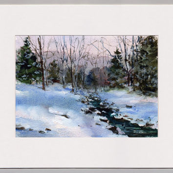 "ORIGINAL WATERCOLOR Painting by Linda Henry - ""A Winter Wonderland"" -  Miniature Watercolor - 5""x7"" - Matted - Ready to Frame (#118)"