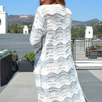 Go Long Knitted Ivory Cardigan