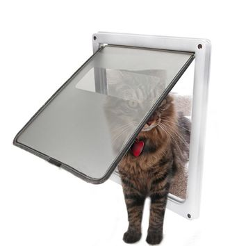 Pet Dog Cat Door Free Access 4 Way Magnetic Lockable Flap Door Door Gate Telescoping Frame Flap Gate Magnetic Closure Door