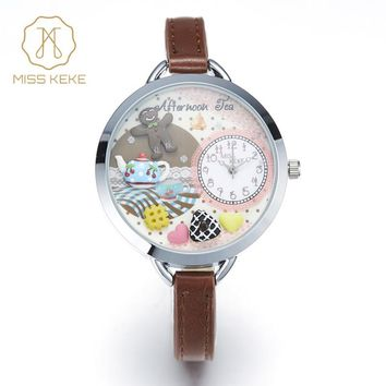 MISS KEKE Clay Cute Mini World Japanese Style Cookie Unique Teapot Gift Watch kids Children Quartz Leather Wristwatches 863