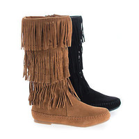 Bazaar03K by Bamboo, Children's Girl Native American Fringe Knee High Flat Boots