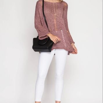 Women's Knit Pullover Sweater with Distressed Detail