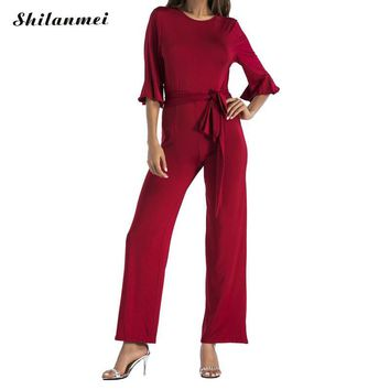Ukraine Fashion Ruffle Elegant Jumpsuits Women big Size Rompers Womens Jumpsuits Short Sleeve wear to work Female Overalls Red