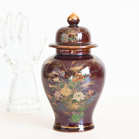 Vintage Japanese Ginger Jar Vase Trinket Storage Container, Made in Japan, Flower Bird Print Asian Home Decor