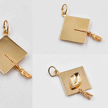 Vintage 14K Yellow Gold Graduation Cap Charm, Ostby Barton, Pendant, Mortarboard, Tassel, Academic, Congratulate the Grad! #b924