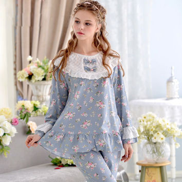 Global Shipping Princess Lace Long-Sleeve Women Pajamas Woven 100% Cotton Sleepwear Thin Thick Lounge Pajamas Set
