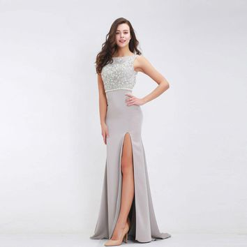 Crystal Beading Evening Dress Long Backless Floor Length Formal high slit Prom Gown